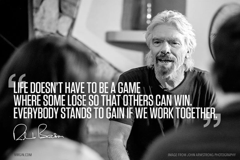 let's work together gluten free dining richard branson quote