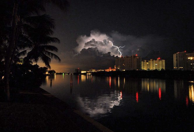 weather the storm love a rainy night lightning photo