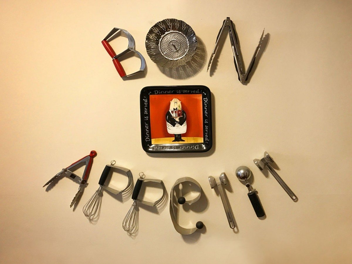 bon appetit found object art by Nancy Sheffey