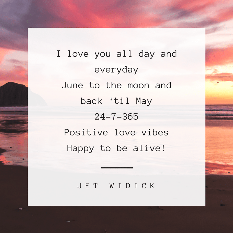 monthly challenge positive love vibes 365 poem by author jet widick