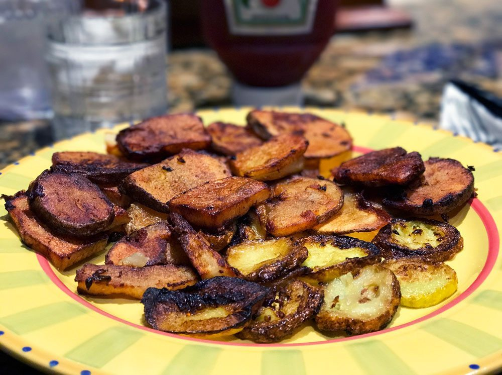 cast iron skillet potatoes yellow squash slow food summer
