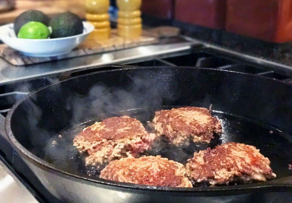 hand pressed cast iron skillet burgers slow food summer