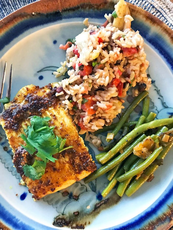 gluten free dinner boulder colorado bengali-style catfish with minted rice